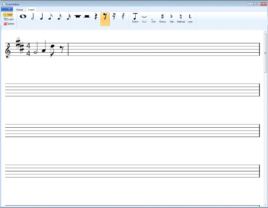Development of a music score editor based on musicxml