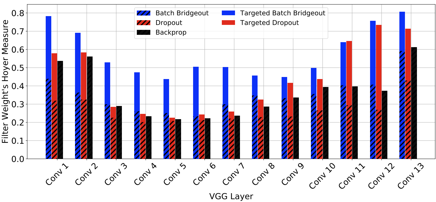 Pruning Convolutional Filters using Batch Bridgeout